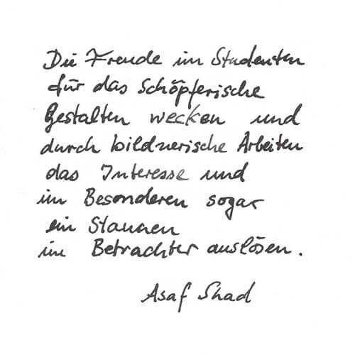 Asaf Shad Motto Handgeschrieben