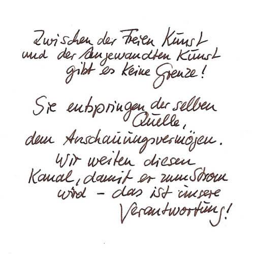 Gerd Krenckel Motto Handgeschrieben